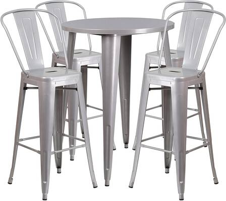 #9. Flash Furniture 4 Café Stools 30'' Indoor-Outdoor Round Silver Metal Bar Table Set
