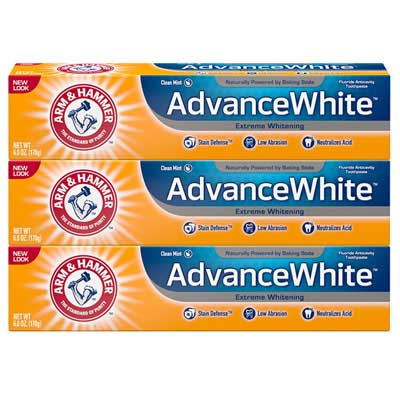 #5. Arm & Hammer Advance White Stain Defense 3 Count Fresh Mint