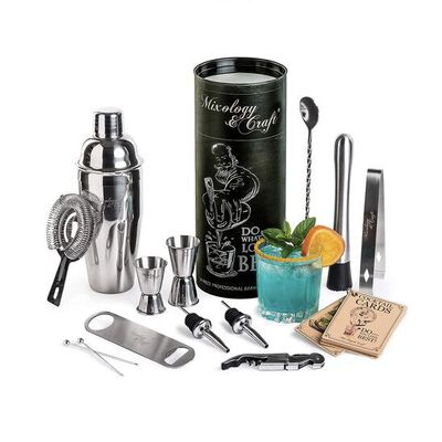 3. MIXOLOGY & CRAFT 14Pcs Professional Bartender Bar Tool Set Shaker w/Drinking Mixer for Home