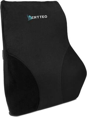 #4. Vertteo Ergonomic Comfortable Full Lumbar High Back Pillow for Car Seat & Office Desk Chair