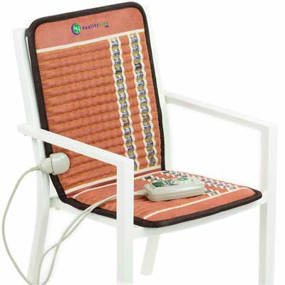 #1. HealthyLine Chair Seat Cushion PEMF InfraMat Pro Far Infrared Electric Heating Pad for Pain Relief