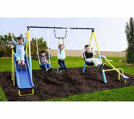 #7. SupremeToys Metal Swing N Slide Set for Kids Outdoor with A Trapeze & Glider Swing Set