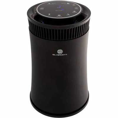 4. SilverOnyx 500 Sq. Ft Black True HEPA Filter Odor Eliminator Air Purifier for Home