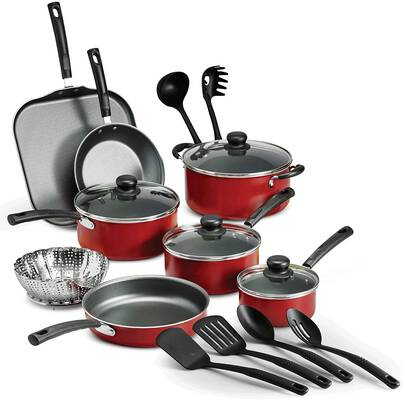 #4. Nonstick Pots & Pans Cookware Set (RED)