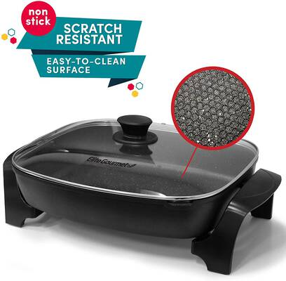 9. Elite Gourmet Dishwasher Safe 1500W Easy-Pour Spout EG-6203 Heavy-Duty Electric Skillet