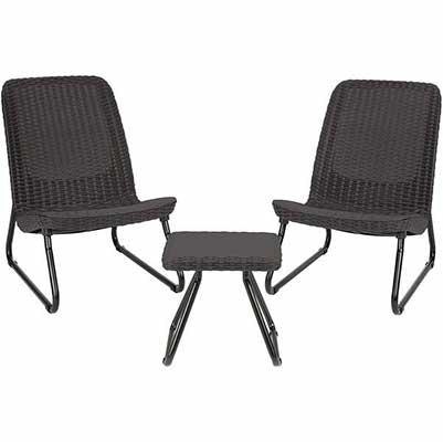 10. Keter Rio 3-Piece Patio Furniture Set, Dark Grey
