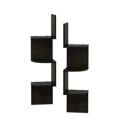#9. Furinno Rossi 3-Tier Radial Corner Composite Wood Wall Mounted Floating Shelf (Espresso)