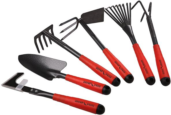 6. FLORA Guard 6Pcs 9-Teeth Rake, Trowel, Cultivator, Weeder Gardening Hand Tools Set
