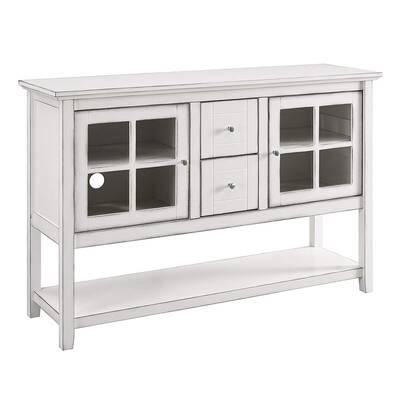 #1. Walker Edison Furniture Company 52'' Rustic Farmhouse Wood Storage Sideboard Tables (White)