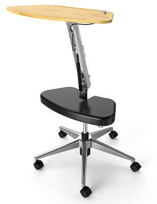 #2. RoomyRoc Stand with Footrest Computer Table Adjustable Tabletop Mobile Laptop Cart (Black)