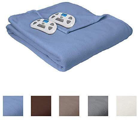 1. SERTA Slate Blue Queen Digital Controller 100% Soft Brushed Fleece 6.1lbs Heated Electric Blanket