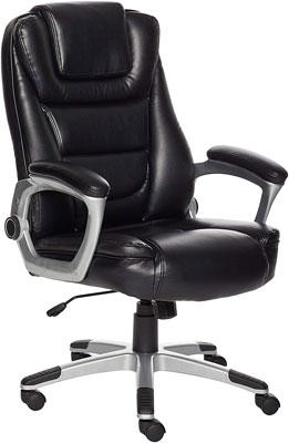 #3. Amazon Basics Bonded Leather High Back (Black) Office Chair