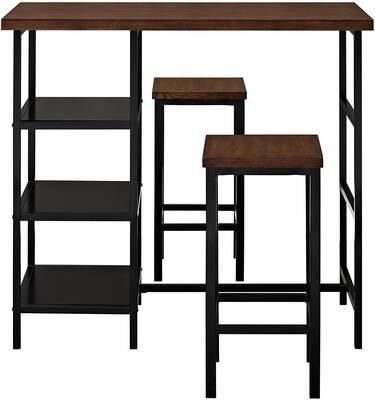 #8. Dorel Living 3-Piece Living Cosmo Durable Wood Top Metal Pub Set (Dark Mahogany)