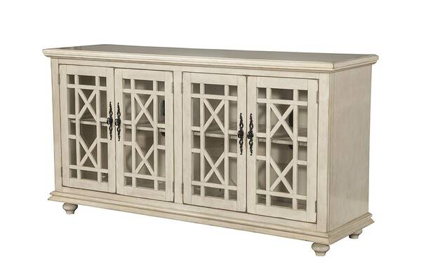 #6. Martin Svensson Home Orsey 63'' Tempered Glass Doors TV Stand Sideboard Table (Antique White)