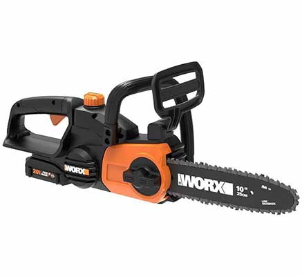 #1. WORX WG322 Lightweight & Compact 6.2lbs 20V Cordless Chainsaw w/Auto-Tension