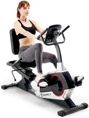 #5. Marcy Regenerating Exercise Bike with Transport Wheel, Pulse Monitor & Adjustable Seat