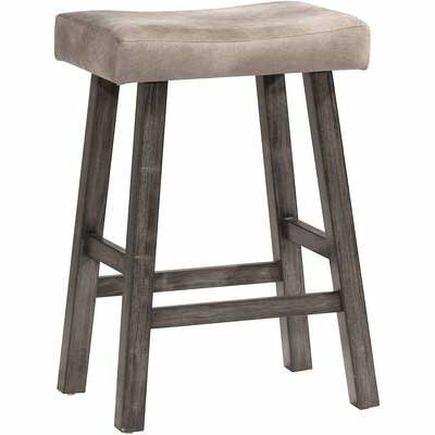 10. Hillsdale Furniture Classic Wood Padded Backless Saddle Seat Counter Bar Stool (Rustic Grey)
