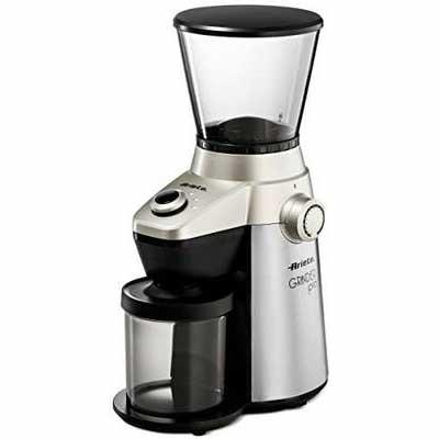 1. Ariete Conical Burr Ultra-Fine Grind 15 Fine – Coarse Grind Adjustable Size Electric Coffee Grinder