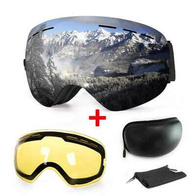 #4. Extra Mile UV Protection Anti-Fog Interchangeable Dual Lens Unisex Snow Ski Goggles