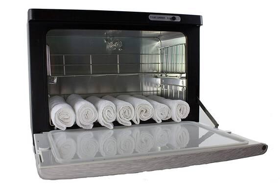 #3. Spa Luxe SL18FSB UL Approved UV Sterilization Hot Full-Size Towel Cabinet Warmer (Silver/Black)