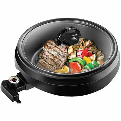 10. Chefman 3-in-1 Slow Cook 10Inch Non-Stick Raised Line Electric Indoor Grill Pot & Skillet