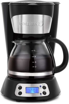 9. Holstein 6-Cup Programmable Black Filter Easy to Use Drip Coffee Maker