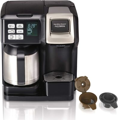 5. Hamilton Beach K-Cup Compatible Black & Stainless Flex Brew Thermal Coffee Maker