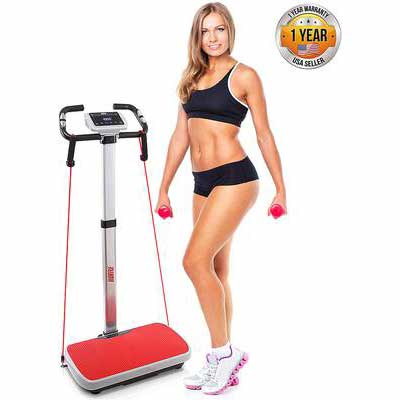 #3. Hurtle PHURBTR90 Vibration Platform Trainer Fast Workout Exercise w/Portable Carry Roller Wheels