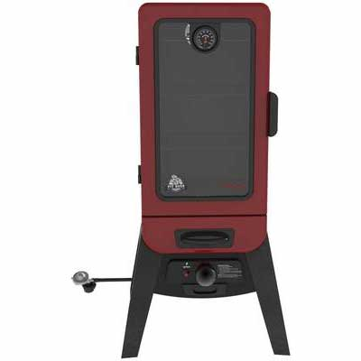 4. PIT BOSS 77435 Dual Valve Stainless Steel Burner Vertical LP Gas Smoker (Red)