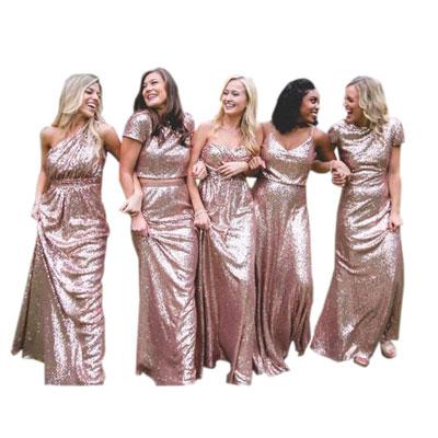 #6. Immagicdress Rose Gold Sequins Long Bridesmaid Dress