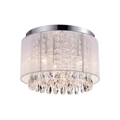 #1. Lalula Chandelier 3 Light Crystal Ceiling Fixtures White Flush Mount Light