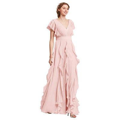 #4. AW Chiffon Long Bridesmaid Dress