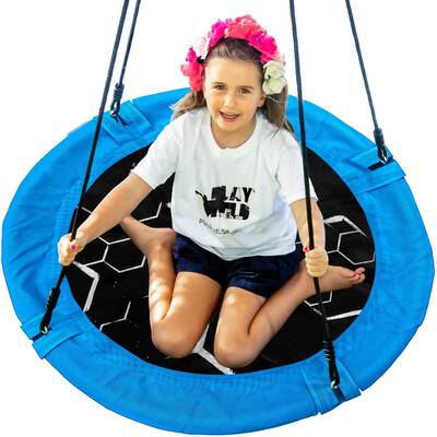 4. Play Wild 40'' Round Outdoor Adjustable Hanging Saucer Tree Swing for Kids, Adults & Teens