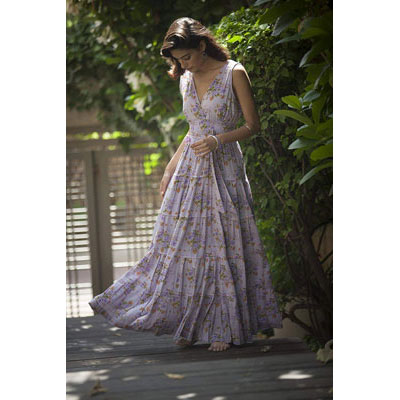 #3. Lavender Maxi Long Bridesmaid Dress