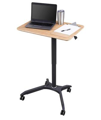 #1. Pneumatic Adjustable Height Versatile Mobile Laptop Desk Cart 28'' (Charcoal/ White Oak)