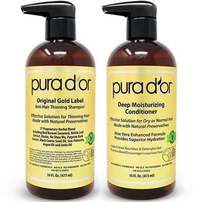 #1. PURA D'OR 2 16 Fl. Oz. Biotin Original Gold Label Anti-Thinning Shampoo & Conditioner Set