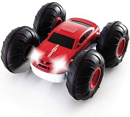 #10. Sharper Image 2-in-1 Reverse Design Remote Control RC Flip Stunt Car Toy for Kids (Red/White)