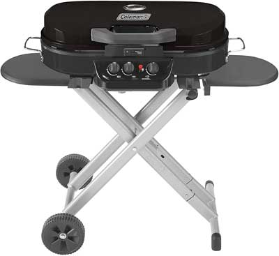 #9. Coleman 285 Portable Road Trip Stand-Up Swappable Cooktops Propane Grill