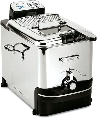 2. All-Clad Silver 3.5 Liter Easy Clean Pro EJ814051 Stainless Steel Electric Deep Fryer w/Timer