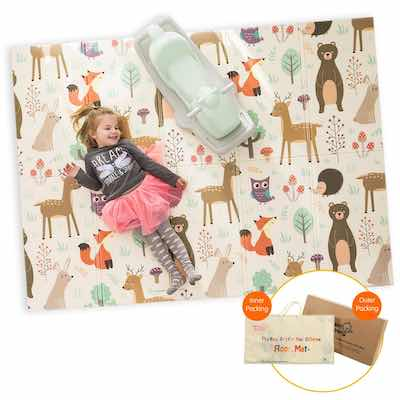 #3. Infant Shining 58'' x 78'' Waterproof & Anti-Slip Folding Mat for Kids (Happy Zoo)