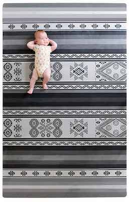 #2. Tribe West Large Soft Microfiber Natural Rubber Stylish Play Mat Cusco Grey
