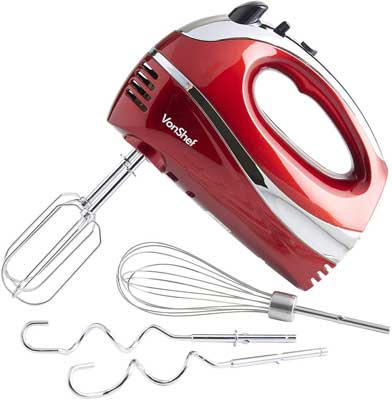 #9. VonShef Turbo Button & 5 Speed Stainless Steel Electric Hand Mixer Whisk (Red)