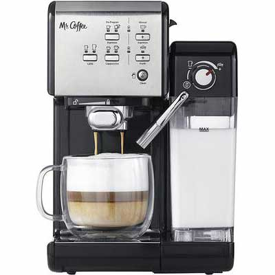 8. Mr. Coffee CoffeeHouse Cup Tray One-Touch Espresso Maker & Cappuccino Machine