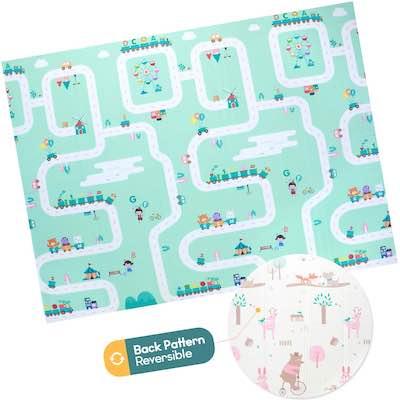 #10. Ashtonbee Waterproof Foldable Reversible Play Mat for Kids & Toddlers