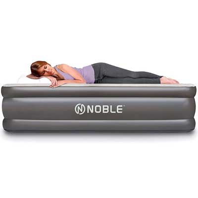 #7. Noble Queen Size Comfort Double High Top Inflatable Airbed Built-in Pump Air Mattress Quilt Top