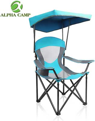 #4. ALPHA CAMP Support 350 lbs. Shade Mesh Canopy Heavy-Duty Folding Recliner Camping Chair