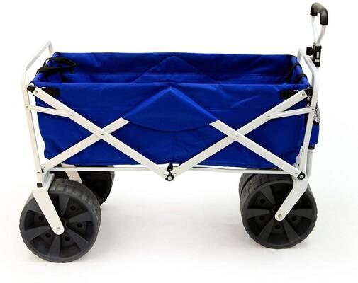 5. MEDA Blue/White Heavy-Duty All Terrain Collapsible Foldable Utility Beach Wagon w/Wheels