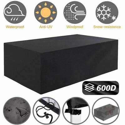4. Tvird Black Anti-UV Windproof 600D Heavy-Duty Fabric Waterproof Outdoor Patio Furniture Cover