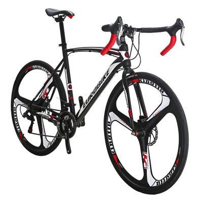 #5. Eurobike EURXC550 21 Speed 700C 3-Spoke Wheels Dual Disc Multi-Color Brake Road Bicycle