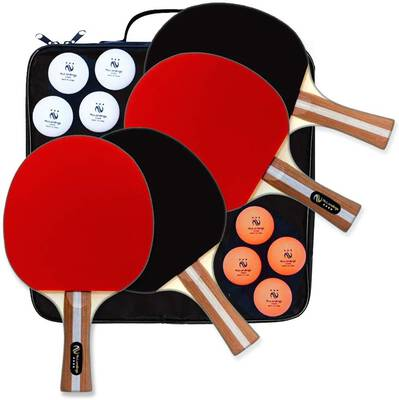 #2. NuLandings Ping Pong Paddles with a Portable Cover Case - Bundled Kit